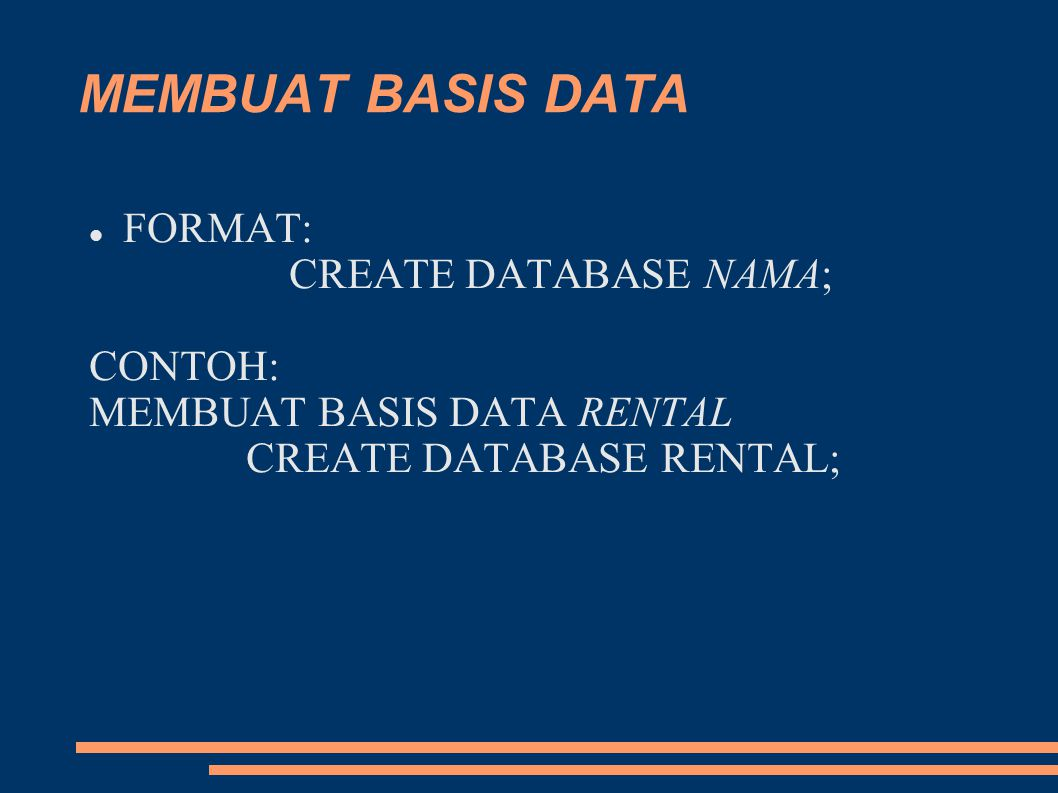 CREATE DATABASE RENTAL;