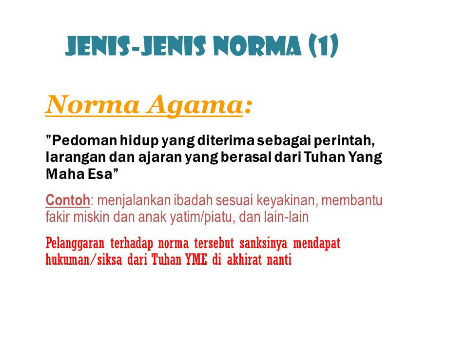 Jenis-jenis norma (1) Norma Agama: