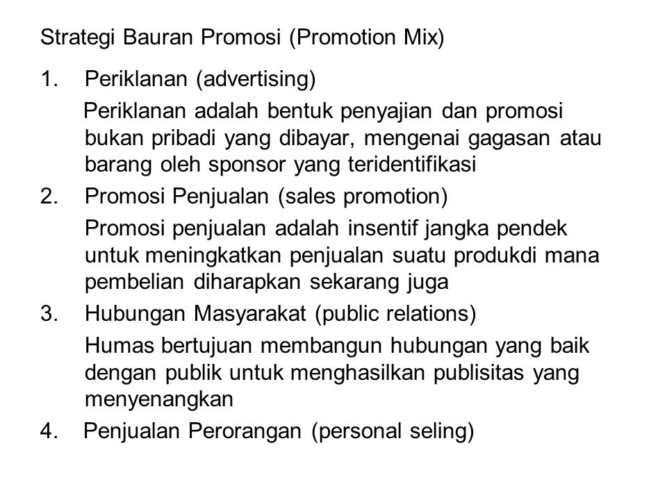 Strategi Bauran Promosi (Promotion Mix)