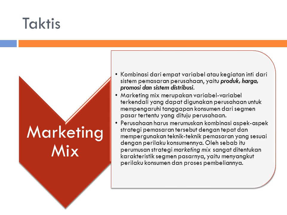 Taktis Marketing Mix.