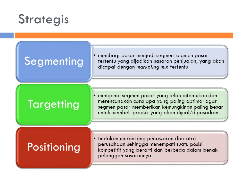 Strategis Segmenting.