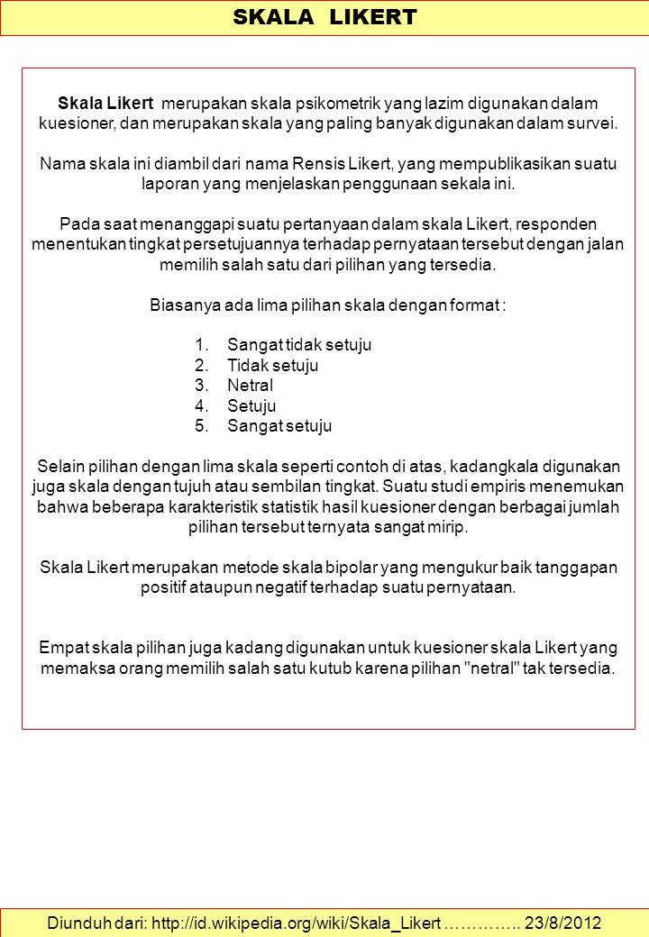 Kajian Lingkungan Sekala Likert Dalam Psl Ppsub Malang Ppt Download