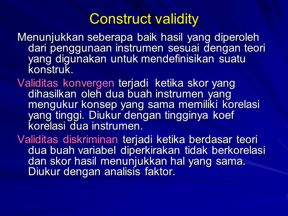 Construct validity