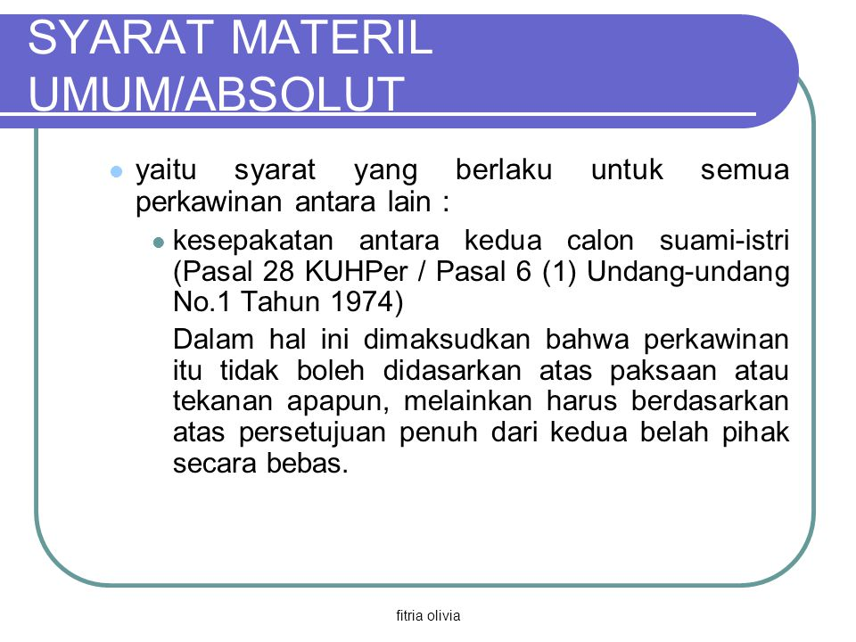 SYARAT MATERIL UMUM/ABSOLUT