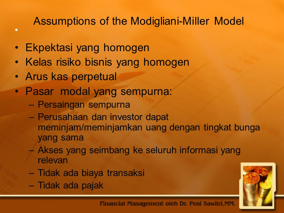 Assumptions of the Modigliani-Miller Model