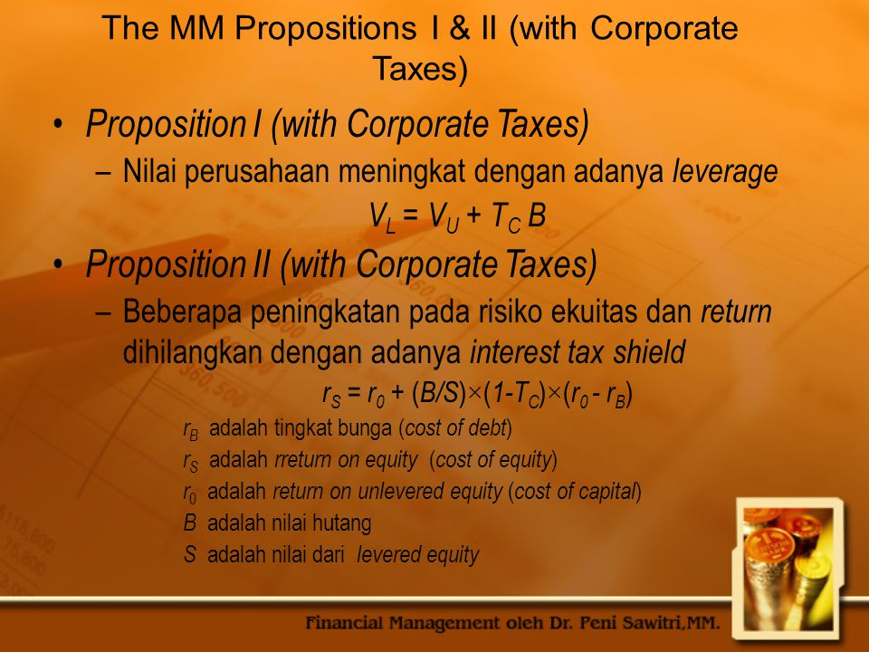Proposition I (with Corporate Taxes)
