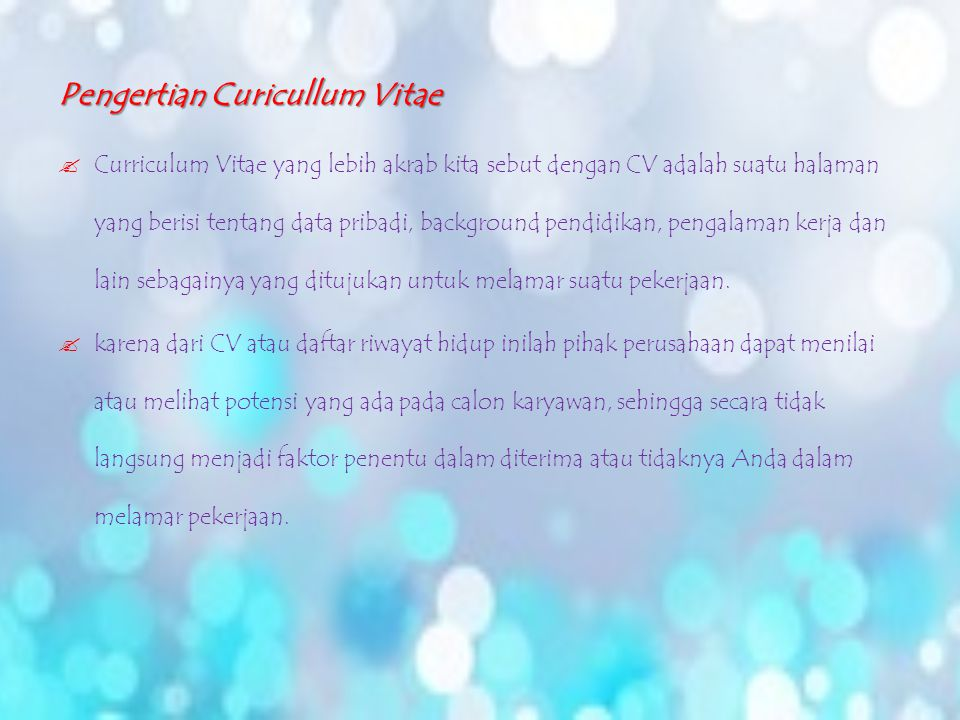 Curicullum Vitae Cv Berri Suandi Jesicca Ka07 Ppt Download