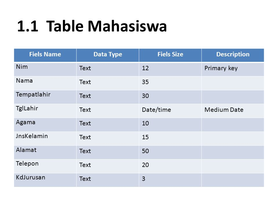 1.1 Table Mahasiswa Fiels Name Data Type Fiels Size Description Nim