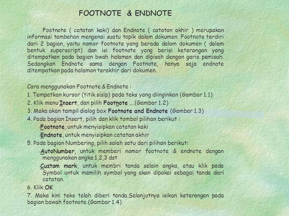 FOOTNOTE & ENDNOTE