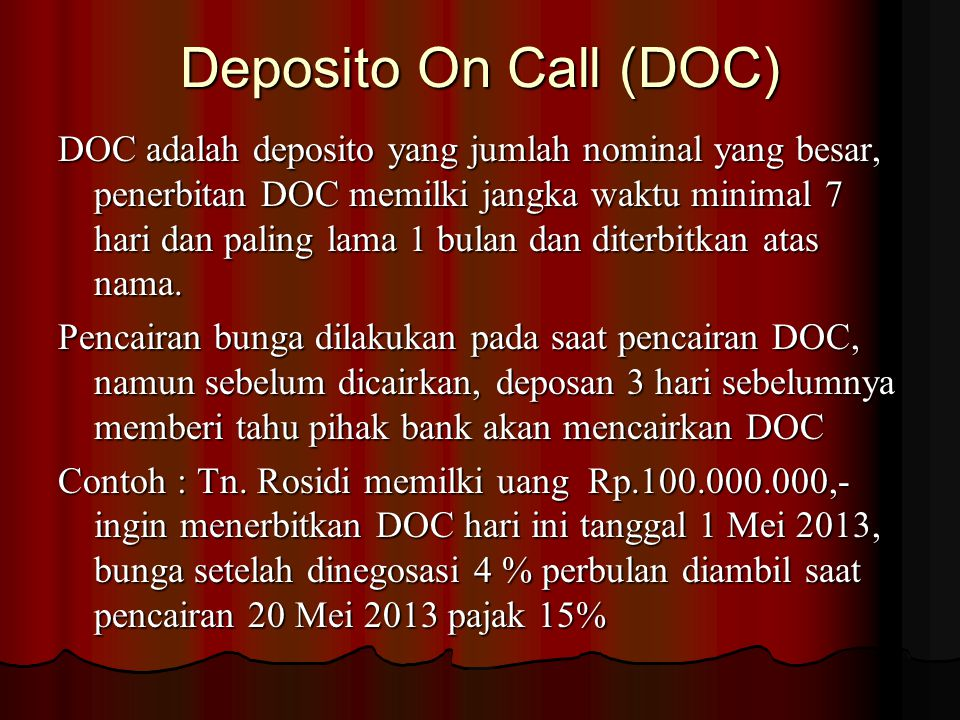 Deposito On Call (DOC)