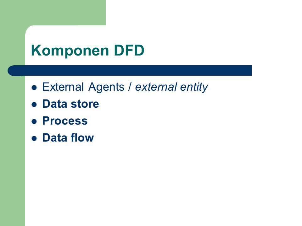Komponen DFD External Agents / external entity Data store Process