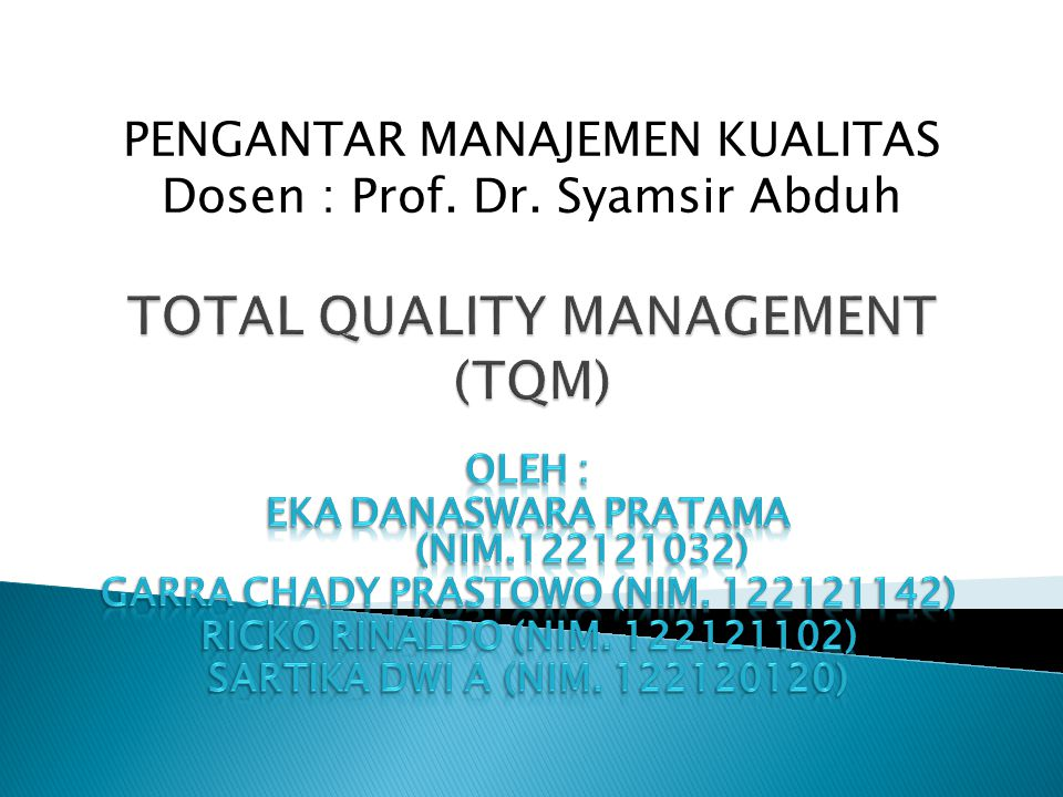 Total Quality Management Tqm Ppt Download