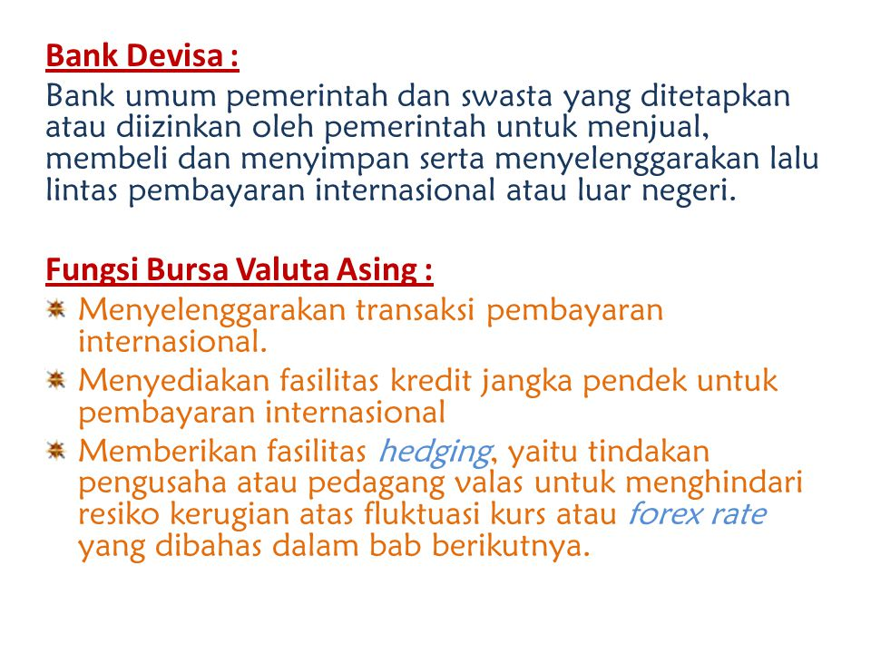 contoh bursa valuta asing
