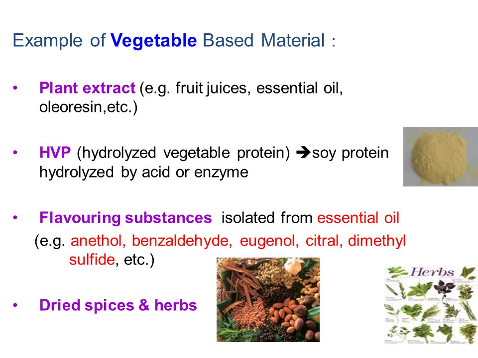 Example of Vegetable Based Material :