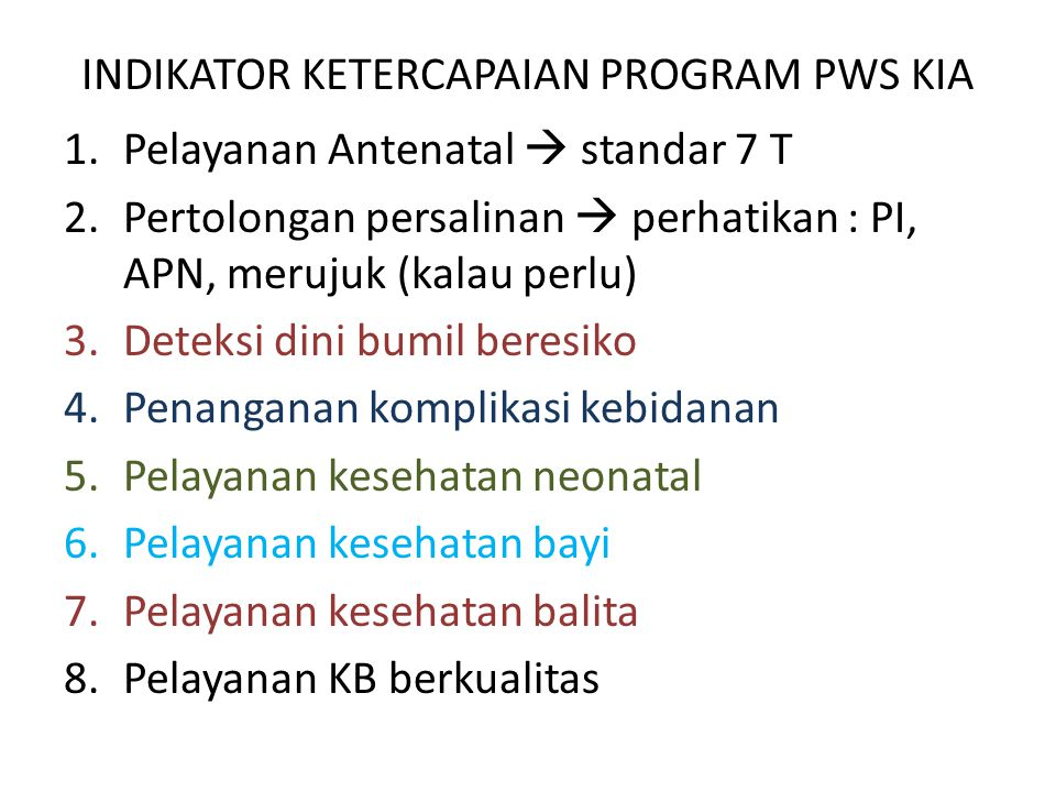 INDIKATOR KETERCAPAIAN PROGRAM PWS KIA