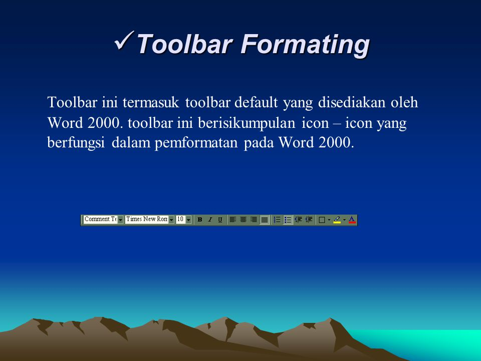 Toolbar Formating