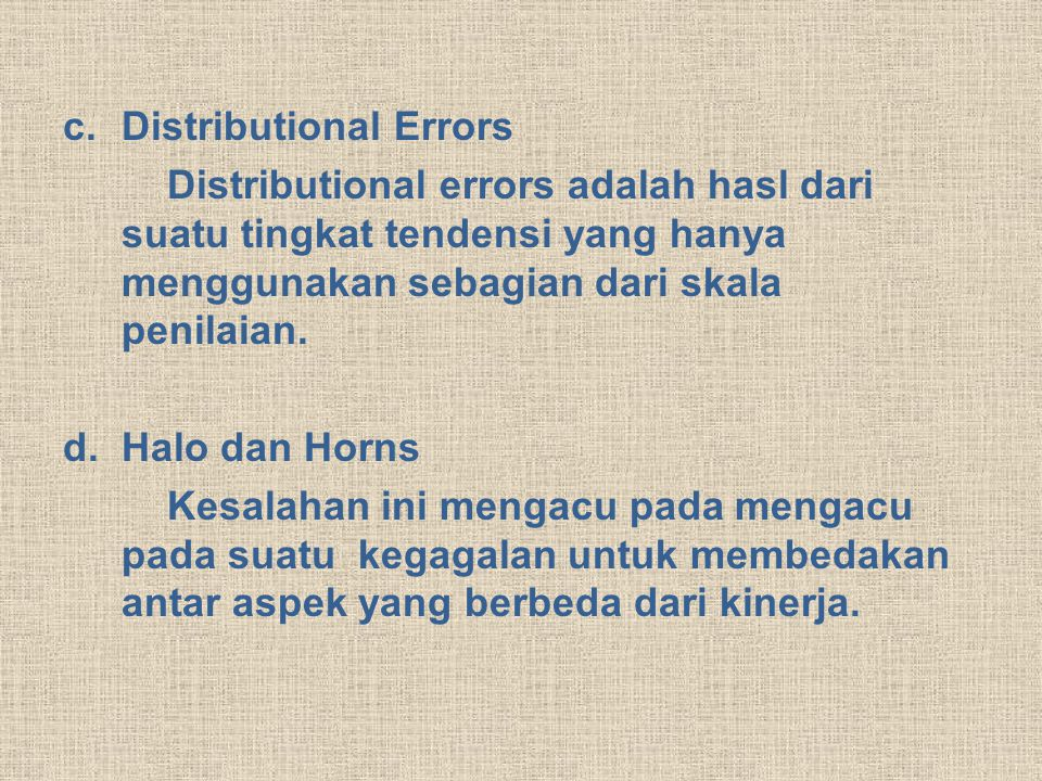 Distributional Errors