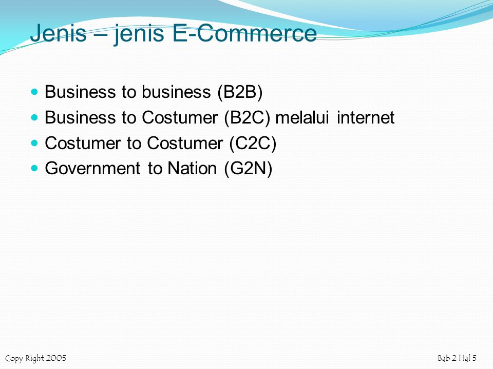 Jenis – jenis E-Commerce