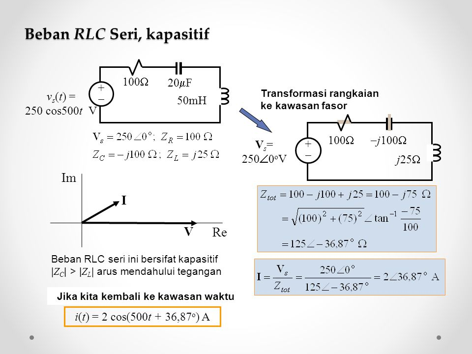 Analisis rangkaian listrik di kawasan fasor ppt download beban rlc seri kapasitif ccuart Image collections