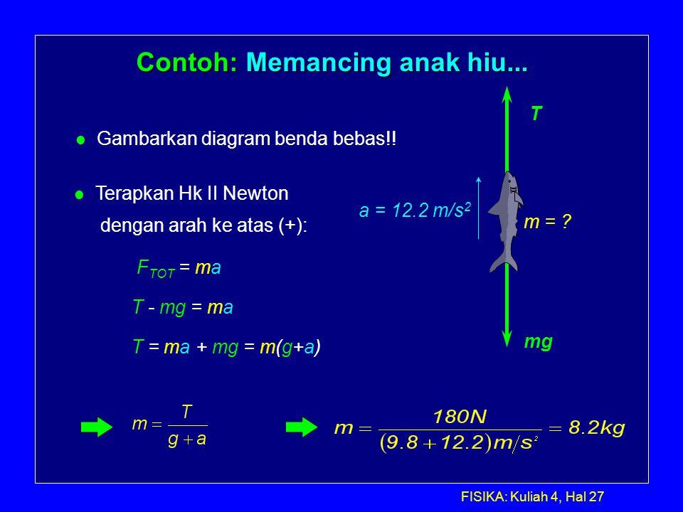 Kuliah 5 dinamika lanjutan ppt download 27 contoh memancing anak hiu gambarkan diagram benda bebas ccuart Choice Image