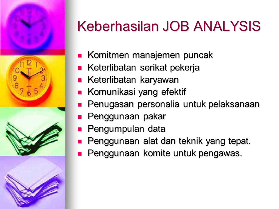 Keberhasilan JOB ANALYSIS