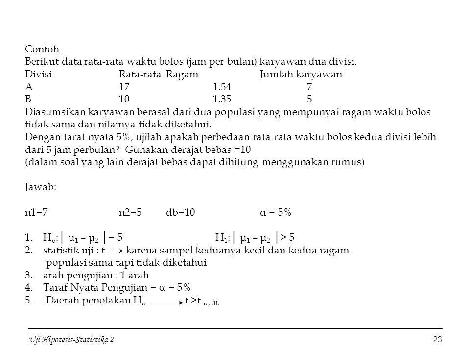 Statistika 2 Pengujian Hipotesis Topik Bahasan Universitas