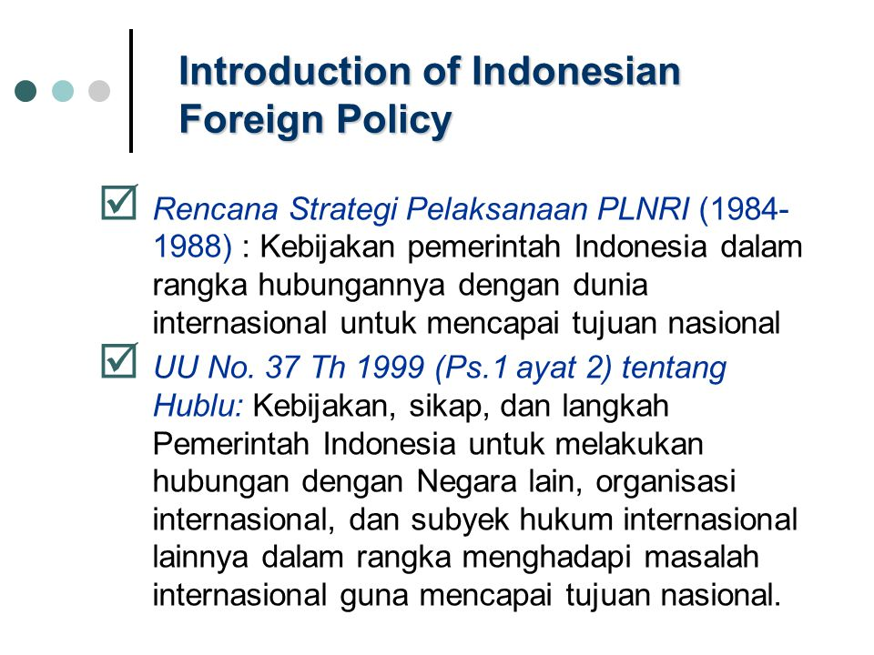 Introduction of Indonesian Foreign Policy