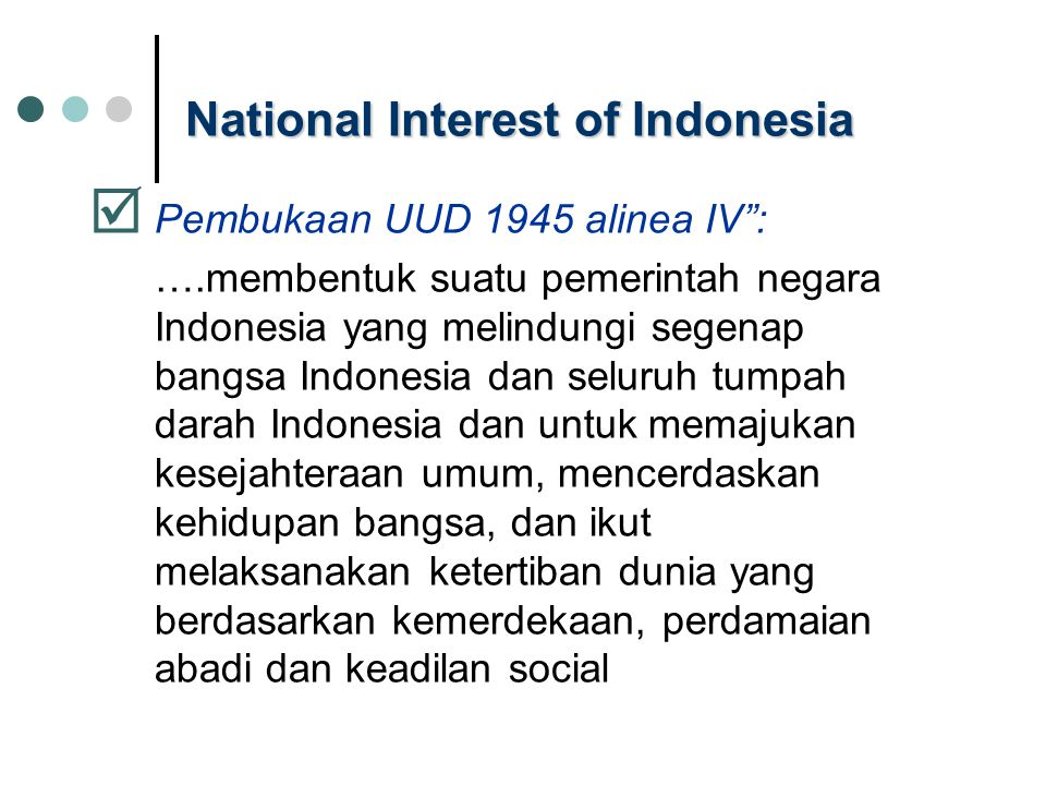 National Interest of Indonesia