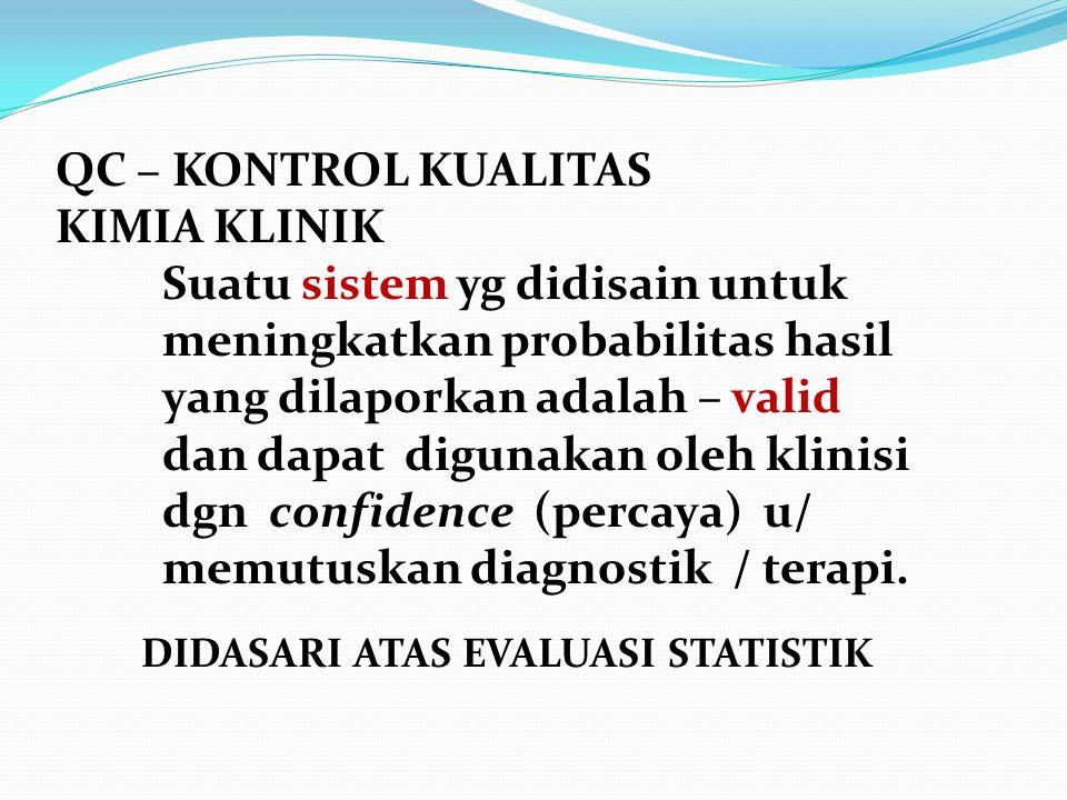 Qc Quality Control Kontrol Kualitas Kimia Klinik Laboratorium Klinik Ppt Download