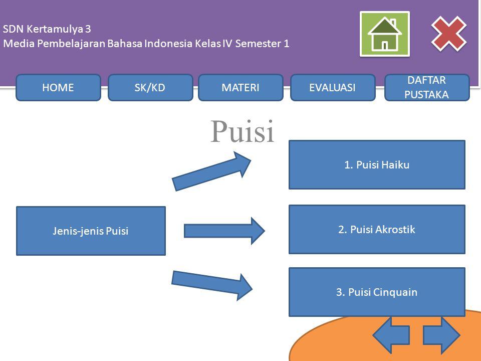 Sdn Kertamulya 3 Media Pembelajaran Bahasa Indonesia Kelas Iv Semester 1 Home Sk Kd Materi Evaluasi Daftar Pustaka Belajar Membaca Puisi Dan Membuat Puisi Ppt Download