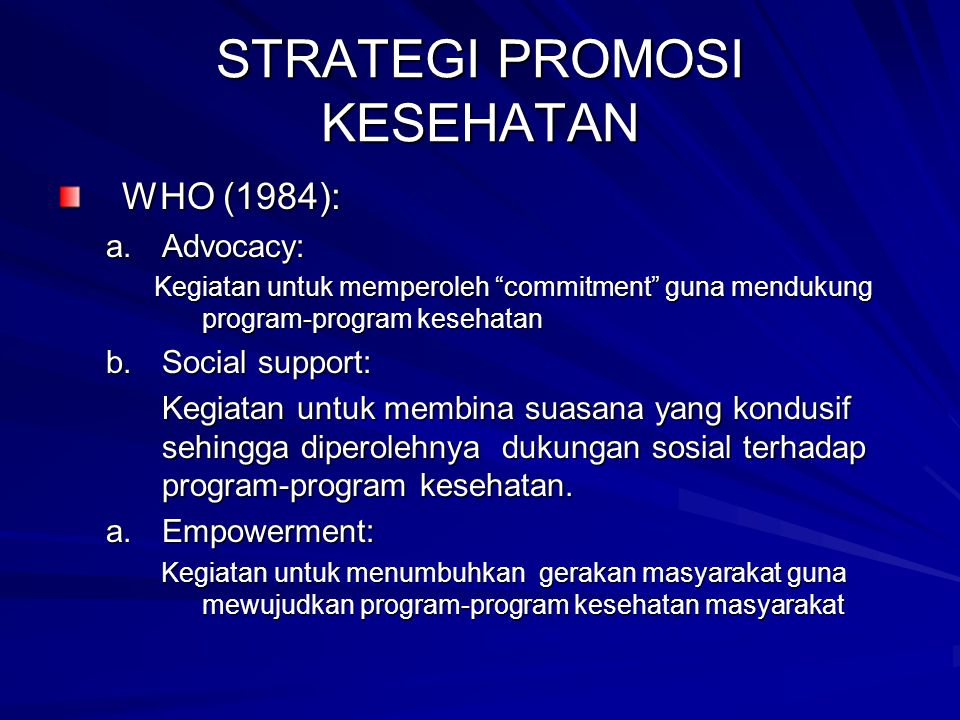 Konsep Promosi Kesehatan Ppt Download