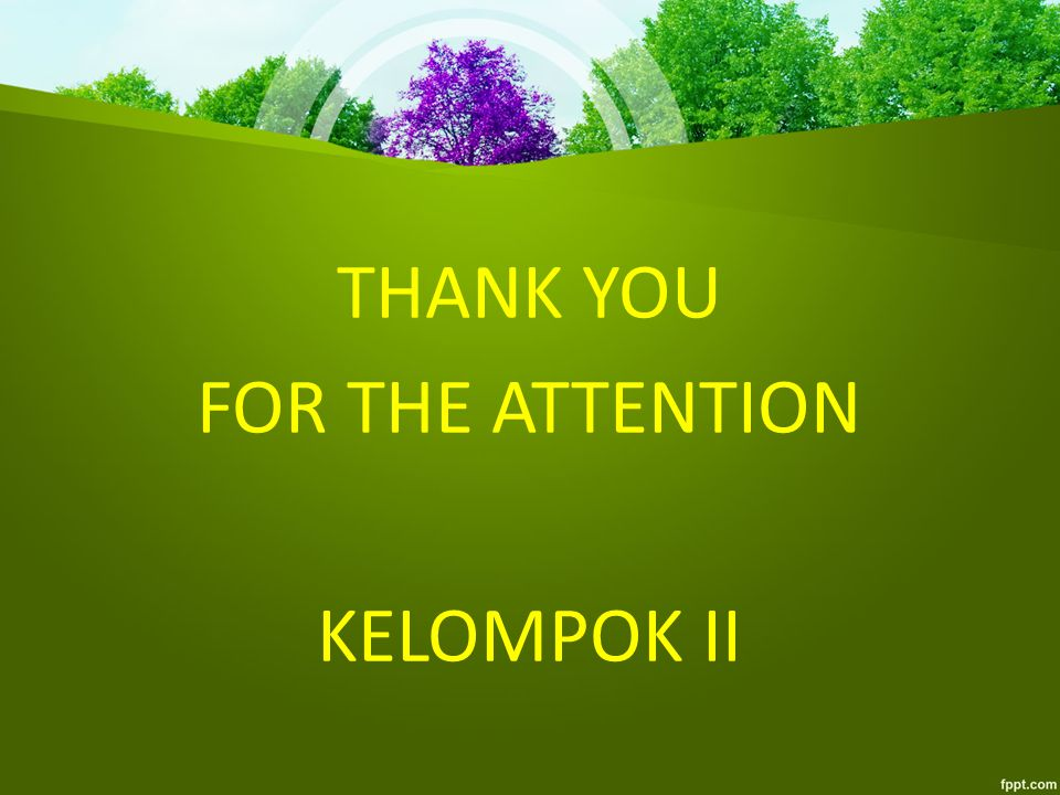THANK YOU FOR THE ATTENTION KELOMPOK II